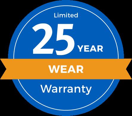 25 Year Limited Abrasive Wear Warranty Badge