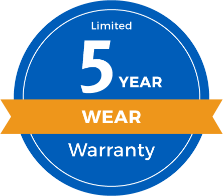 5 Year Limited Abrasive Wear Warranty Badge
