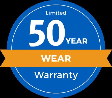 50 Year Limited Abrasive Wear Warranty Badge