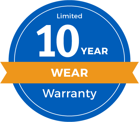 10 Year Limited Abrasive Wear Warranty Badge