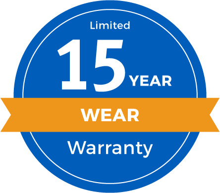 15 Year Limited Abrasive Wear Warranty Badge