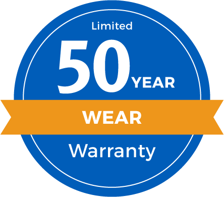 50 Year Limited Abrasive Wear Warranty Badge